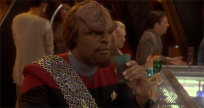 Worf gets juiced before his big fight...