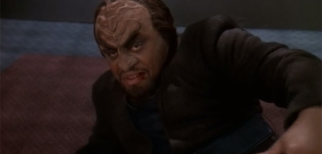 Worf really doesn't understand the proper way to lodge an objection...