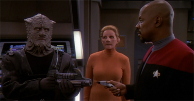 "Sisko's decision to improve Dominion/Federation relations by holding a ""badass-off"" really helped to break the tension."