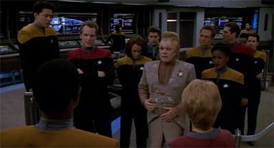 """""""We will contact the Vidiians. This is my decision and mine alone. You are all absolved of responsibility in the matter. I will accept any consequences which may ensue. Including the harvesting of all of your organs."""""""