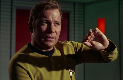 Kirk really wasn't happy about the teaser to Spock's Brain.