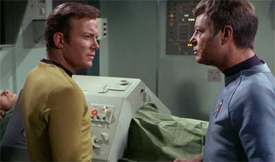 """Spock's body is more dependent on that tremendous brain for life support."" ""Then we'll take him with us."" ""Take him? Take him where?"" ""In search of his brain, Doctor."""