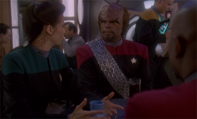 """Jadzia, I must insist that you stop making reference to my 'lower bat'leth'."""