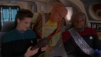 Worf was not best pleased with Quark's alternative suggestions for how to use a horga'hn.