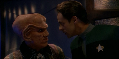 """I don't know why you were worried about Worf joining the show, Quark. The studio tried to kill me off."""