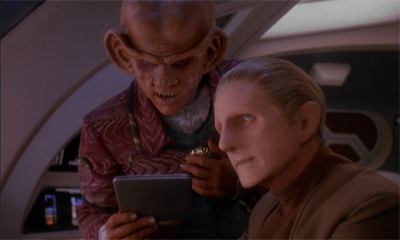 """'And he piled upon the whale's white hump, a sum of all the rage and hate felt by his own race...' Odo, you didn't tell me you had the novelisation of Star Trek: First Contact."""