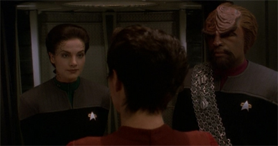 """I'm sorry. Captain Sisko's orders. After Let Hew Who Is Without Sin..., you two aren't allowed down here by yourselves."""