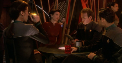 """... and then Riker sent us all down to an alien sex planet where the only minor on the team was sentenced to death."" It's Chief O'Brien, a regular Riker raconteur."