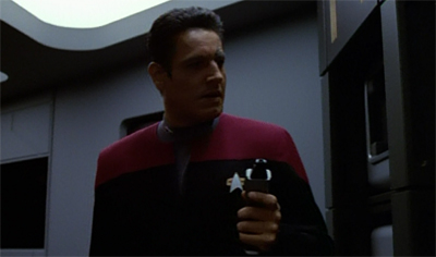 Of course the Nyrians left Chakotay until last. They probably forgot that he existed until he started sabotaging stuff.