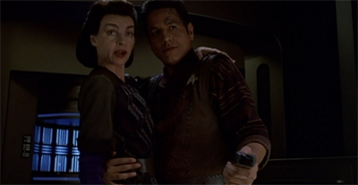 Well, hey. At least Seska's hugely improbable attraction to Chakotay remains consistent.