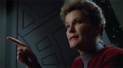 """... a lot of people are spending more time on the holodeck than they are at their posts."" Okay. Maybe deranged!Janeway has a point."
